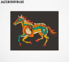 Large GICLEE Abstract Horse, Fine Art Print  for the home wall decor (13x16) by modern Artist Jazzberry Blue
