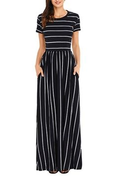 Uniarmoire Women's Summer Casual Loose Striped Long Dress with Pocket Maxi Dress - Black - Small Short Beach Dresses, Maxi Robes, Frack, Striped Maxi Dresses, Dresses Dresses, Fall Maxi Dresses, Flower Dresses, Stylish Dresses, Long Dresses