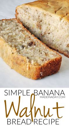 Moist and Simple Banana Nut Bread Recipe | Made in a Day Quick Bread Recipes, Fun Easy Recipes, Banana Bread Recipes, Walnut Bread Recipe, Moist Banana Bread, Homemade Dinner Rolls, Healthy Snacks For Diabetics, Dessert Recipes, Dessert Bread