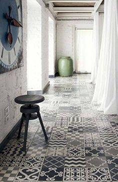 This jumble of a tile floor is gutzy, but I love it! Via: lacloserie: cotemaison.com