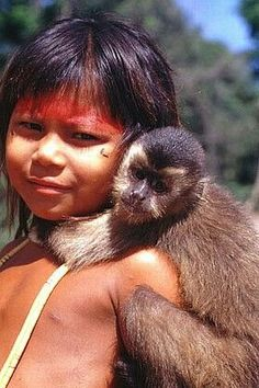 Native girl and her pet monkey