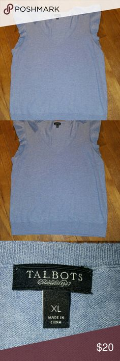 Flattery sleeveless sweater from Talbots Bluish gray acrylic/wool blend sweater, sleeveless with flutter at armholes, super soft, v-neck, EUC Talbots Sweaters