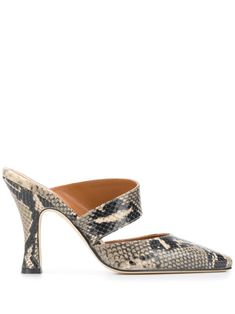 Beige leather python effect mules from paris texas featuring a slip-on style, a branded insole, a square toe and a high heel. Mules Shoes, Heeled Mules, Paris Texas, Platform High Heels, Leather Mules, Ankle Straps, Shoe Game, Python, Luxury Fashion