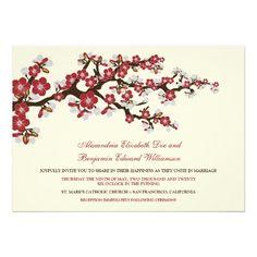 Cherry Blossoms Wedding Invitation (cranberry)