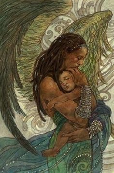 """The Art of Rebecca Guay, """"Angel of Solace"""" Angels Among Us, Angels And Demons, African American Art, African Art, I Believe In Angels, Ange Demon, Black Art Pictures, Black Angels, Guardian Angels"""
