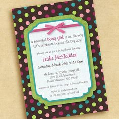 Punkin Prints: Baby Shower invite - coordinates with PB Coco Dot bedding collection