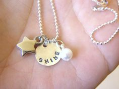 SHINE  Custom Hand Stamped Tiny Sterling Silver by eagerhands, $21.00 Vintage Pearls, Silver Stars, Sterling Silver Necklaces, Hand Stamped, Midnight Garden, Sparkle, Make It Yourself, Jewelry Ideas, Pretty