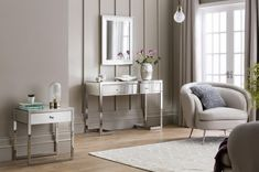 The Inna Mirrored Two Drawer Console Table features stylish stainless steal legs, statement bevelled glass top and silver handles finished with crystal detail. Furniture, Interior, Drawers, Side Table, White Decor, Table, Home Decor Mirrors, Console Table, Mirror