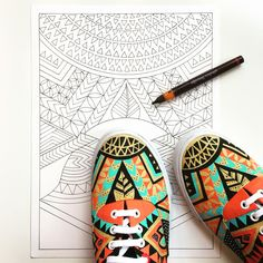 Recreating my design in paper to then digitize and hopefully it can be choosen to be produced as a Bucketfeet.com shoe! #pomgraphicdesign #customshoes #workinprogress @bucketfeet