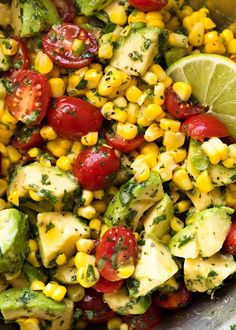 Salad recipes 745134700834818857 - A simple, super tasty Corn Salad made with fresh or canned corn, avocado and juicy tomatoes, finished with a fresh lime dressing. I love the combination of flavours in this salad combined with the creamy… Read Mexican Food Recipes, Vegetarian Recipes, Dinner Recipes, Cooking Recipes, Healthy Recipes, Cooking Pasta, Cooking Bacon, Corn Salad Recipes, Corn Salads