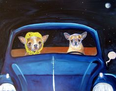 Chihuahua Dog Art Print/Blueberry Hill/VW/by M Holzer by dogwagart, $13.50