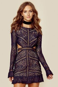 We love the delicate details of this pretty dress by For Love and Lemons. Featuring an open back with a bold wrap around cutout, the brand's signature embroidered lace fabrication, ruffled hem, and petite pom pom detailing on the edges. Lace Dress, Dress Up, Wrap Dress, California Outfits, Costume, Kaftan, Pretty Dresses, Homecoming Dresses, Dress To Impress