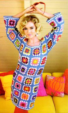 Crochet PDF pattern , Vintage Granny Sweater Dress crochet pattern #8 by Superlucky8com on Etsy