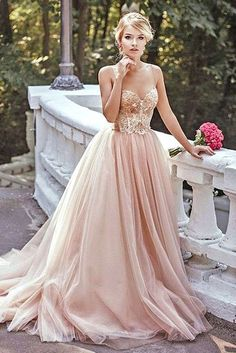 Modest Prom Dress,Lace Prom Dress,Blush Pink Prom Dresses,Evening Dress,Spaghetti straps Tulle Evening Dresses by DRESS, $189.00 USD