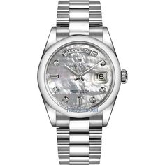 Rolex Day-Date 36mm Platinum Domed Bezel 118206 White MOP Diamond... ($51,168) ❤ liked on Polyvore featuring jewelry, watches, platinum, rolex jewelry, platinum watches, diamond bezel watches, white diamond watches and diamond jewellery