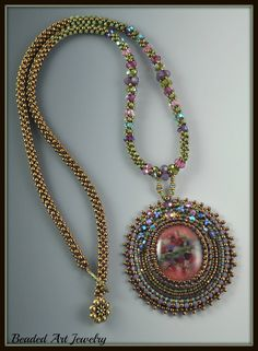 Special Beaded Bead Embroidered Necklace for by beadedartjewelry, $160.00