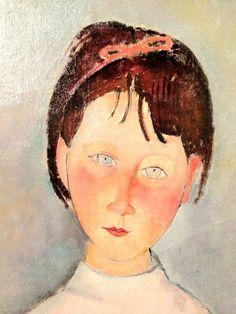 Amadeo Modigliani, little girl in blue, 1918 (detail) Amedeo Modigliani, Italian Painters, Italian Artist, Kunst Online, Famous Artists, Face Art, Oeuvre D'art, Art History, Modern Art