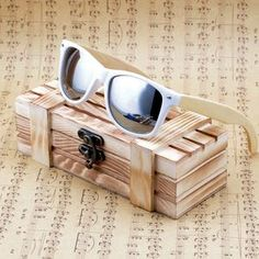 ea4074bcb3 Wooden Sunglasses with Bamboo   White Plastic Frame and Colorful Polarized  Lens