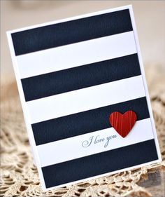 handmade card ... navy and white with a splash of red ... bold, graphic style ... luv the crisp,  precisely cut and placed bands of white and navy ...