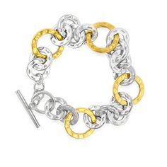 """Stainless Steel Two Tone Circle Link Bracelet - 8"""""""