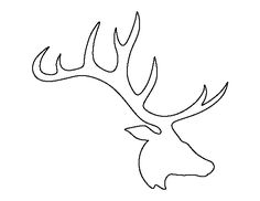 Elk head pattern. Use the printable outline for crafts, creating stencils, scrapbooking, and more. Free PDF template to download and print at http://patternuniverse.com/download/elk-head-pattern/
