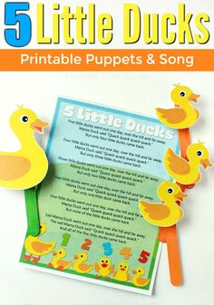 Little Ducks: Printable Puppets and Song Five little ducks went out one day. Make some music and sing a song with your toddler or preschooler and these fun printable puppets! Preschool Music, Preschool Themes, Preschool Classroom, Preschool Learning, Toddler Preschool, Early Learning, Toddler Activities, Learning Activities, Preschool Activities