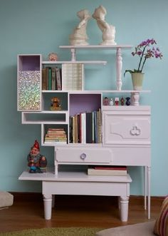 Junk Days DIY - Old drawers and tables turned into an artistic shelving unit.