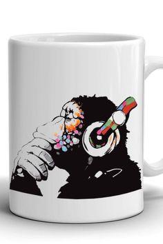 Coffee mug with a picture of a monkey in headphones/Boyfriend Gift/Сoffee mug/Work mug/Office mug/Banksy Monkey/Best Birthday gift/Present Banksy Monkey, Mug Crafts, Best Birthday Gifts, Boyfriend Gifts, Different Colors, Coffee Mugs, Print Design, Headphones, Presents