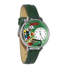 Billiards Watch in Silver (Large) W/GREEN BAND