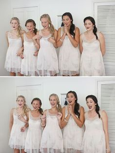 "A ""first look"" with the bridesmaids. Also love their nails, lips and dresses!"