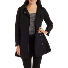 Charlotte Russe Wool-Blend Moto Trench Coat ($19) ❤ liked on Polyvore featuring outerwear, coats, black, long coat, wool blend biker coat, black coat, wool blend coat and black trench coat