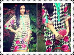 Maha Burney in Deepak Perwani Frida Digital Print Kurti (LKU 801) - part of Deepak Perwani Spring/Summer Collection 2013