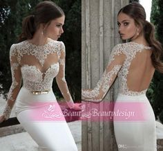 Discount 2014 New Arrival White Sheath Wedding Dresses Long Sleeves Bateau Lace Backless Floor Length Modern Spring Bridal Gowns BO3910 Online with $119.5/Piece | DHgate