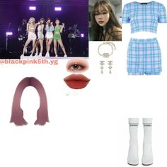 Korean Outfits Kpop, Kpop Fashion Outfits, Stage Outfits, Pink Fashion, Womens Fashion, Korean Dress, Purple Dress, Chanel, Clothes