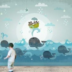 (disambiguation) A mural is any piece of artwork painted or applied directly on a wall, ceiling or other large permanent surface. Mural may also refer to: Ocean Themed Nursery, Nursery Room, Boy Room, Kids Bedroom, Nursery Decor, Room Decor, Wall Decor, Diy Wall, Kids Room Murals