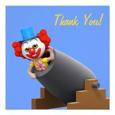 Obrigado! Canhão do palhaço Thankyou Convite Quadrado 13.35 X 13.35cm