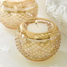 Gilded Light Tea-Light Holder.  Retro-style glass tea-light holder with candle.