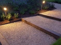 Oak sleepers and Everedge metal edging contain the Breedon gravel all illuminated by Hunza lights. Designed by Anthony Paul and constructed by Bushy Business Gardens. Metal Garden Edging, Metal Landscape Edging, Patio Edging, Gravel Garden, Garden Paths, Landscape Design, Sleepers In Garden, Oak Sleepers, Garden Stairs