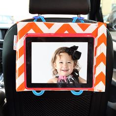 Cool iPad case to hang on the back of the seat (from Car Seat Cinema)