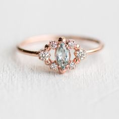 Mossy Green Sapphire Through the Mist Ring in 14k Rose Gold