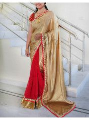Red chiffon gold shimmer georgette patli pallu saree with fancy gold borders. It comes with an unstitched red dupion blouse fabric and a designer semi stitched blouse as in the second pic.
