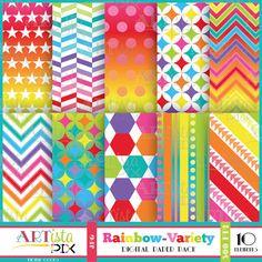 Rainbow Variety Digital Paper Pack Scrapbooking Invitations