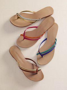 """A fancier flip-flop. Imported polyurethane. 1/2"""" heel.    $29  #254-048"""