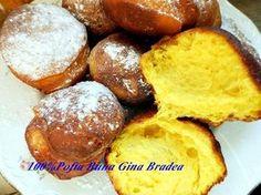GOGOSI PUFOASE USOR DE FACUT Gogosile fac parte din dulciurile copilariei, sunt usor de facut si tare bune, simple sau umplute. Din pacate, le fac rar, din cauza ca sunt adevarate bombe calorice, sunt prajite in ulei, deci mai putin sanatoase. Aceasta este o reteta garantata, ies gogosi foarte pufoase si aromate. INGREDIENTE -1 cana … Romanian Food, Romanian Recipes, Sweets Recipes, Pasta, Pretzel Bites, French Toast, Muffin, Good Food, Bread