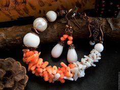 Купить Комплект НЕЖНОСТЬ ЛЕТА - белый, коралловый, медный, подарок подруге, подарок сестре