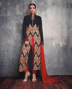 Buy Stunning Black & Red Straight Cut Salwar Kameez online at  https://www.a1designerwear.com/stunning-black-red-straight-cut-salwar-kameez  Price: $34.23 USD
