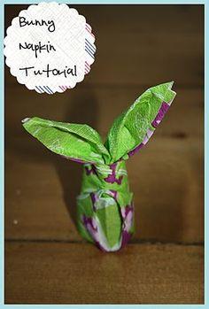 cute bunny napkin folding tutorial