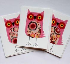 @Amy Niesen @Amy Mezzell Stitched pink owls card set. polkadotshop. etsy