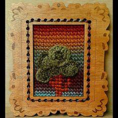 mixed media crochet tree art