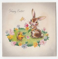 Vintage Greeting Card Easter 1940s Hallmark Brown Bunny Rabbit Chick a478